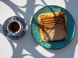 Sandwich & Greek coffee