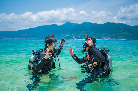 PADI divers doing confined water by the beach