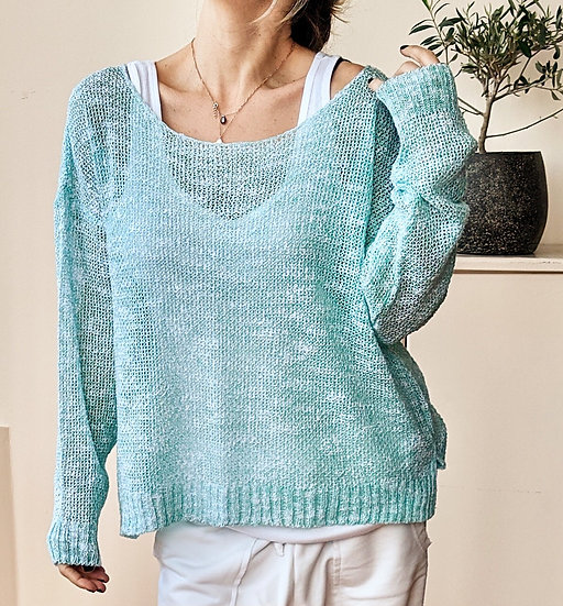 Knit top wide neck
