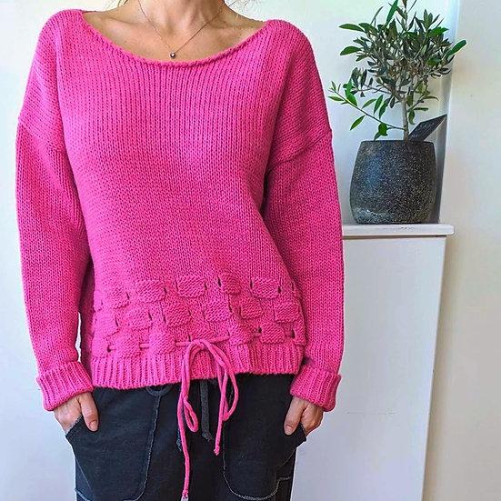 Πλεκτό πουλόβερ με κορδόνι