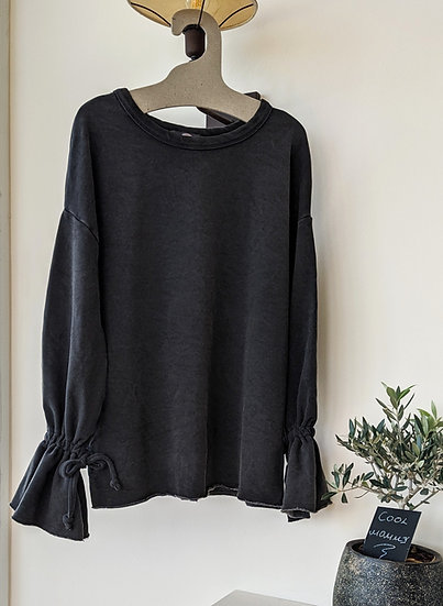 Μακρυμάνικη μπλούζα με δέσιμο στα μανίκια