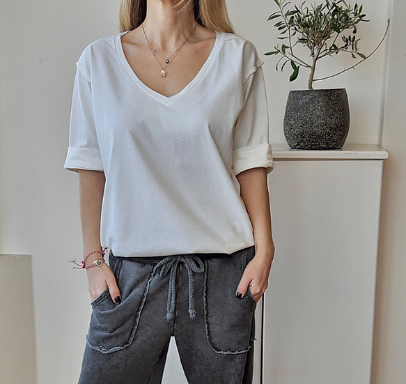 T-shirt V half sleeve