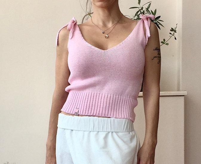 Tie strap knit crop top