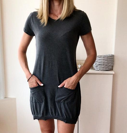 Κοντομάνικο μπλουζοφόρεμα με τσέπες