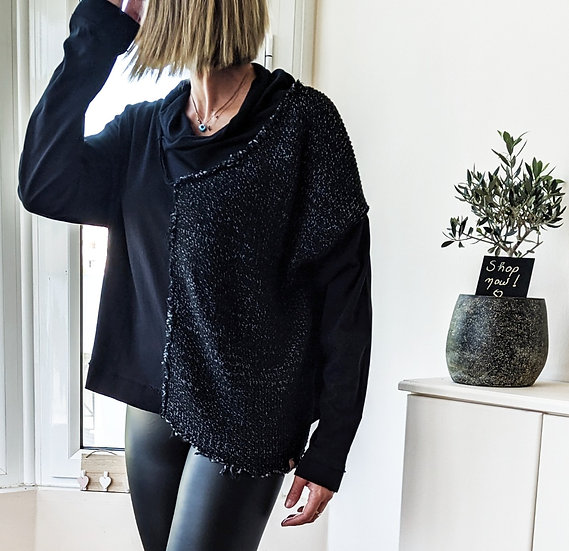 Ασύμμετρη μπλούζα με γυριστό λαιμό