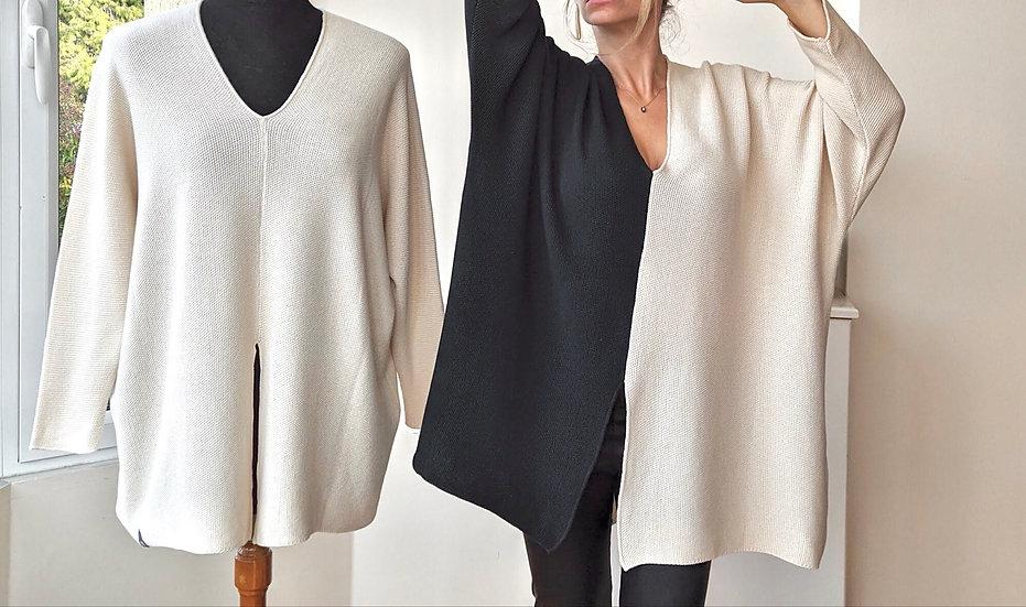 Πλεκτή βαμβακερή μπλούζα