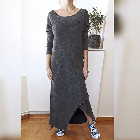 Διπλό φόρεμα ripped με τρουακάρ μανίκια