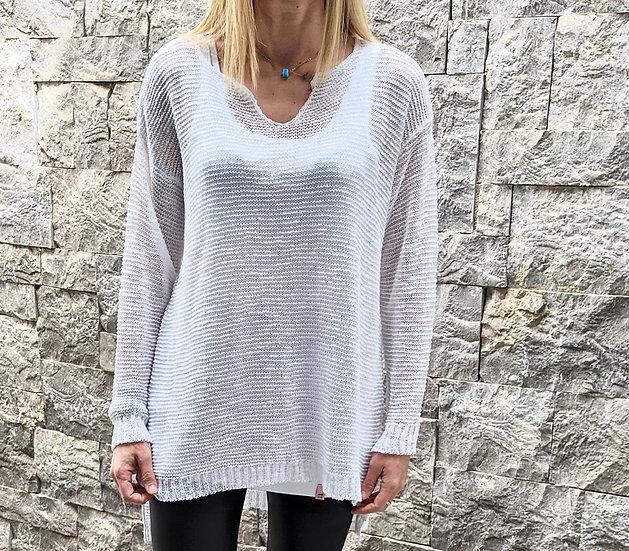Long knit blouse V