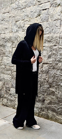 Knit hooded cardigan