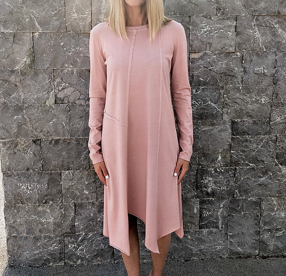 Μακρυμάνικο ασύμμετρο φόρεμα