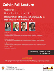 Colvin Institute's Fall Lecture, a webinar on Gentrification: Deracination of the Black Communit