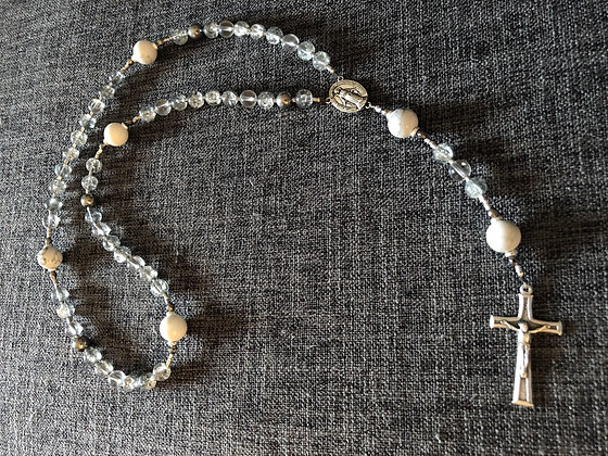 Glossy White Howlite & Mixed Crackle and Pewter Rosary