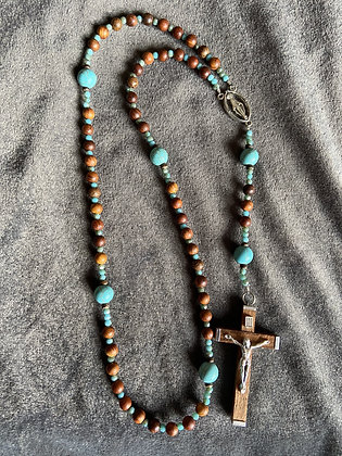 Turquoise Dyed Howlite & Wood Rosary