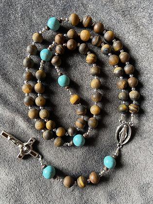 Turquoise & Tiger Eye Benedictine Rosary