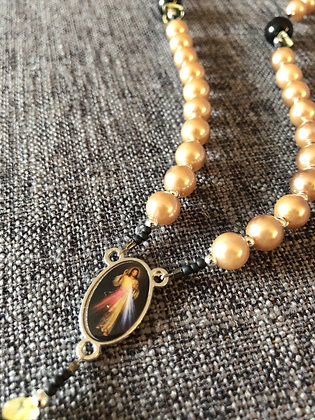 Divine Mercy Black Glass & Faux Gold Pearl Rosary