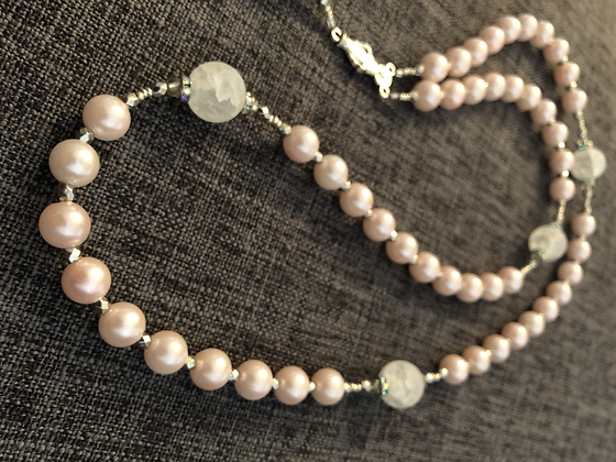 Matte Quartz & Pink Faux Pearl Rosary with Studded Rhinestones