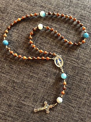 Benedictine Blue Crackled Agate & Wood Rosary