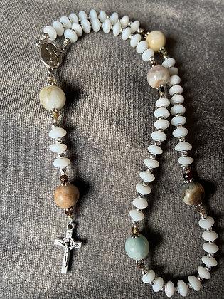 Matte Amazonite & White Glass Pocket Rosary