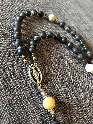 Matte Amazonite & Striped Matte Agate Rosary