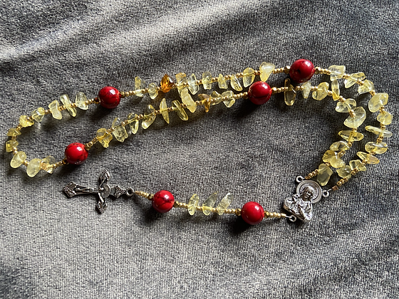 Sacred Heart Red Dyed Howlite & Citrine Amber Chip Rosary