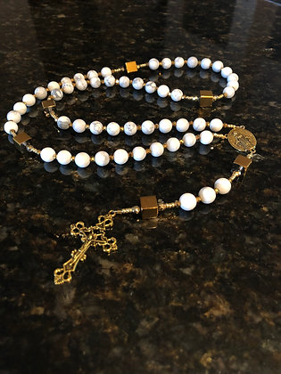 Gold Cube & Matte Marble Howlite Rosary with Gold Centerpiece & Crucifix
