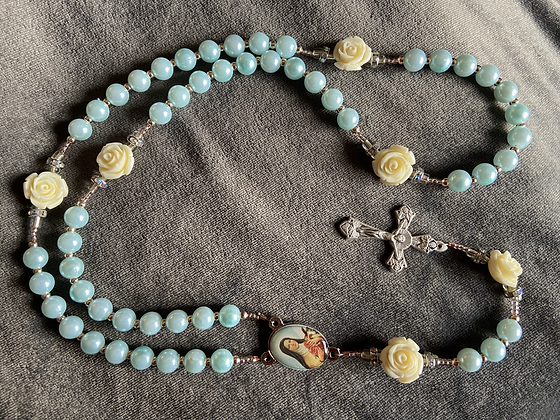 St. Thérèse of Lisieux Cream Rose & Faux Blue Pearl Rosary with rhinestones