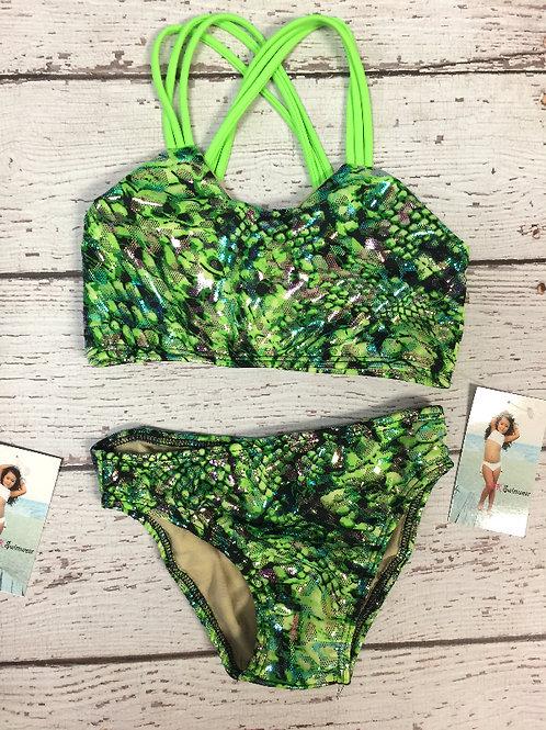 2 PC Metallic Green Snake Skin Bikini.