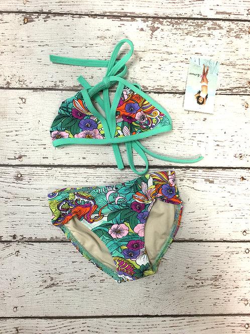 2 PC Green Flowered Bikini