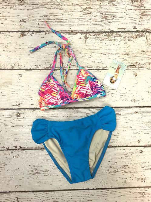 2 PC Colored Splash Blue Triangle Bikini