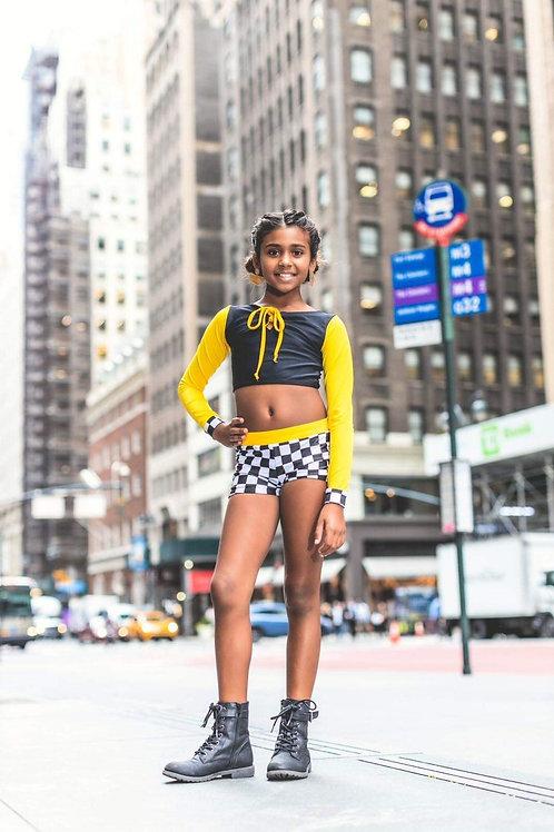 Taxi Boys Shorts & Long Sleeve Crop Top