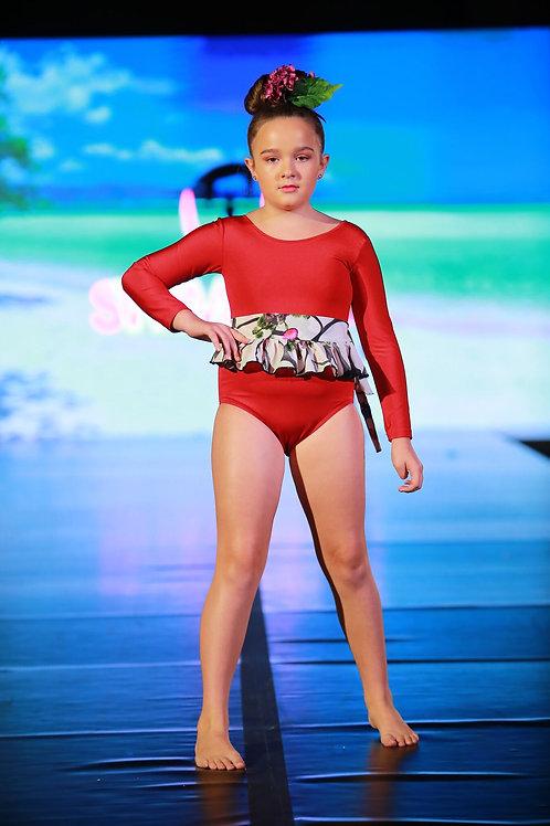 1PC Long Sleeve Ruffle Belt Swimwear