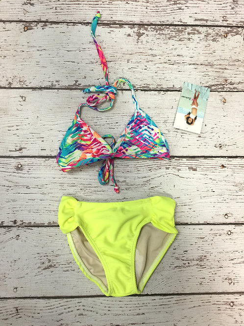 2 PC Neon Yellow Color Splashed Triangle Bikini