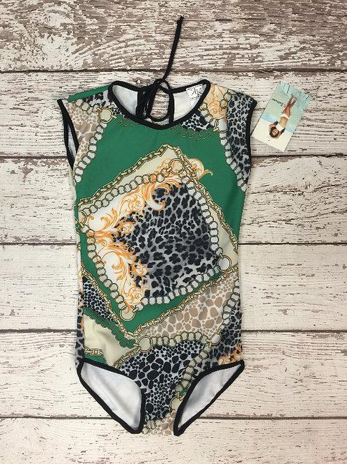 2 PC Green Animal Prin Classic Swimwear