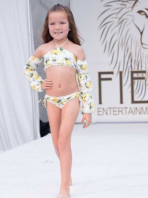 2 PC Long Sleeves Lemon Bikini