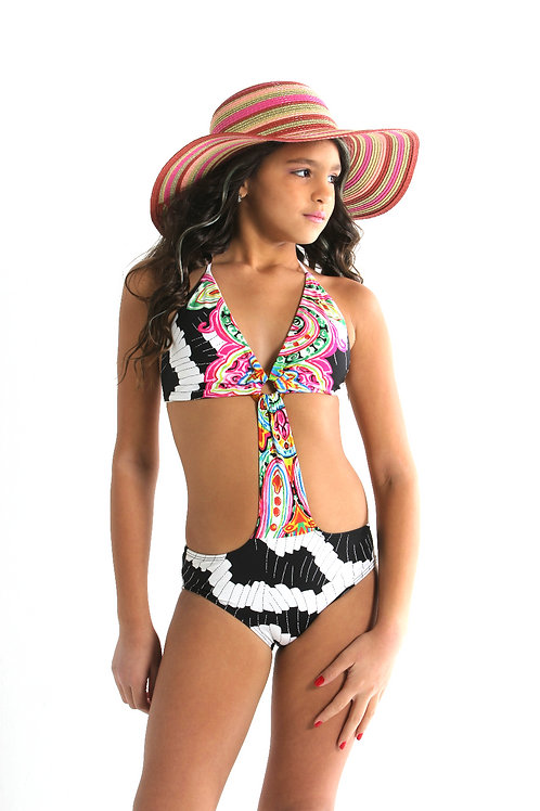 1 PC Cut Out Floral Tankini