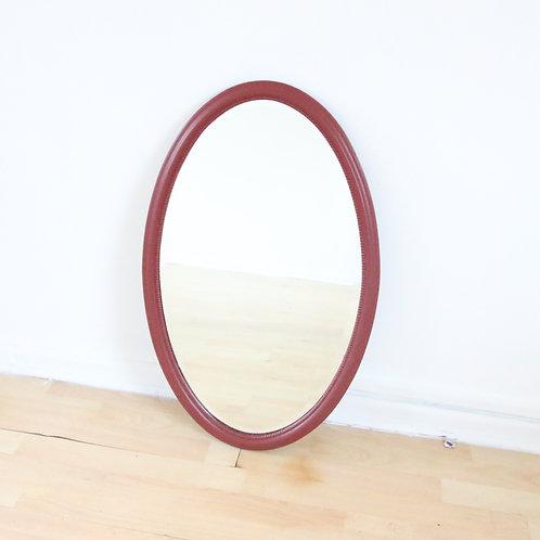 Burgundy Oval Mirror