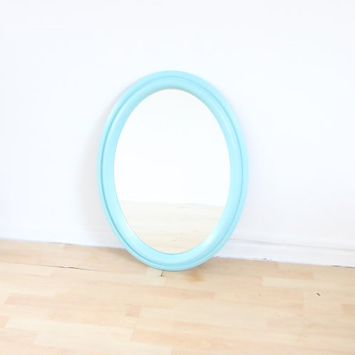 Baby Blue Oval Mirror