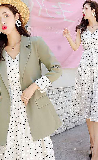 2020 Summer Woman Elegant Office Work Fashion Slim Fit Blazer Coat +  Knee