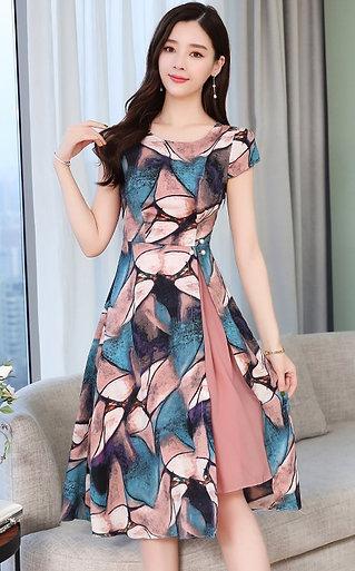 Korean Fashion Chiffon Women Dress Woman High Waist Print Dresses Elegant