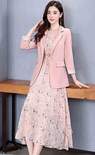 Fashion Blazer + Strap Dress for Women Summer Costume Lady Office Pockets