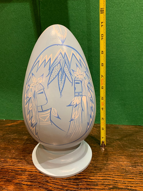 Tall Traditional Painted Blue Egg
