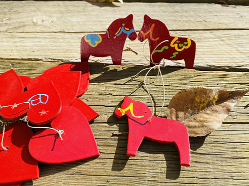 Wooden Red Horse Ornament