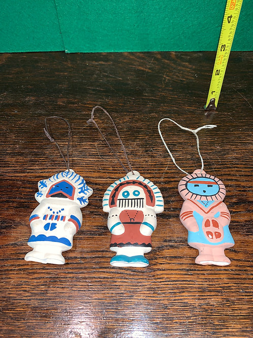 Set of Three Kachina Ornaments
