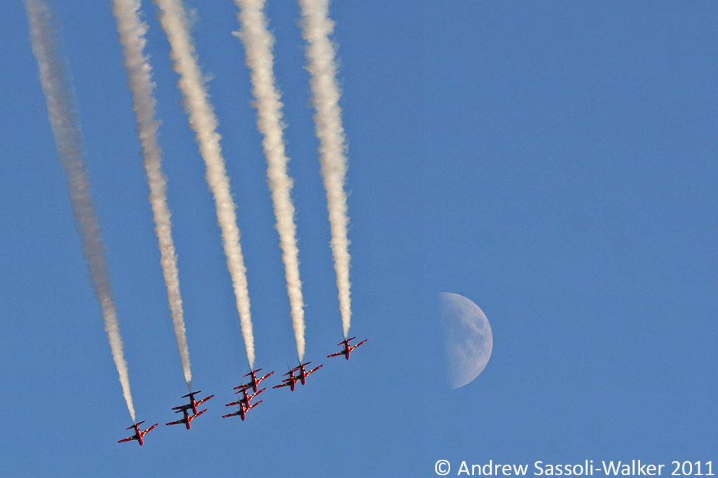 Red Arrows and the Moon over Cowes