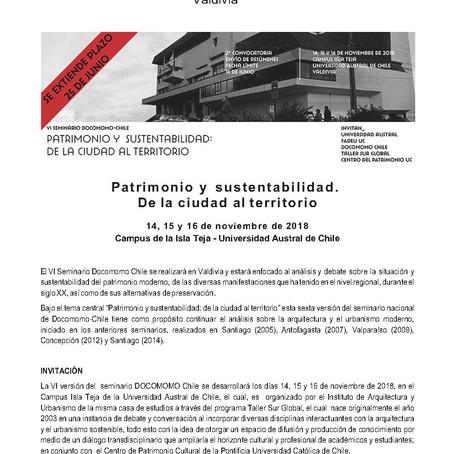 VI Seminario Docomomo Chile: Patrimonio y Sustentabilidad: de la ciudad al territorio