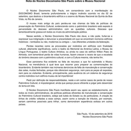 Nota do Núcleo Docomomo São Paulo sobre o Museu Nacional
