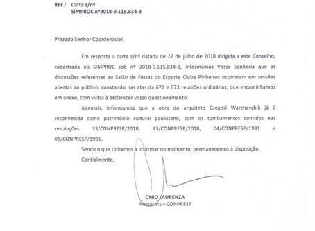 Íntegra da resposta do Conpresp à carta protocolada pelo Núcleo Docomomo São Paulo