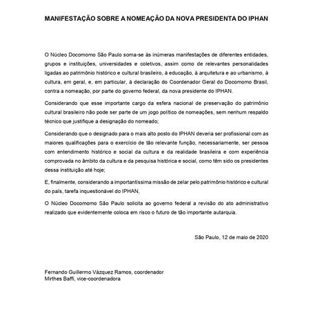 Manifestação sobre a nomeação da nova presidenta do IPHAN