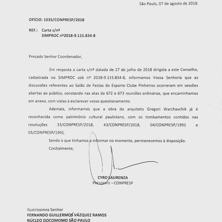 Resposta do Conpresp à carta protocolada pelo Núcleo Docomomo São Paulo