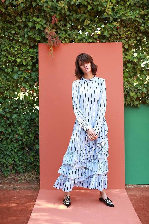 fırfırlı maxi elbise